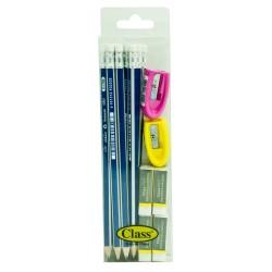 طقم كلاس (مبراة حبتان + مساحات 4 حبات + أقلام رصاص 12 حبة)